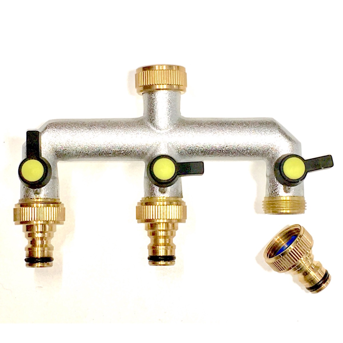 Three-way Brass Garden Tap connection